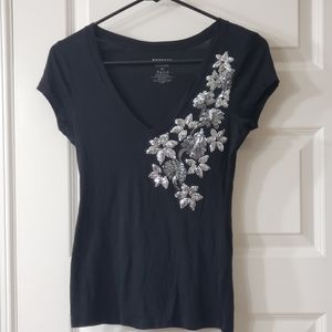 Express Silver Sequin Black Tee Size XS